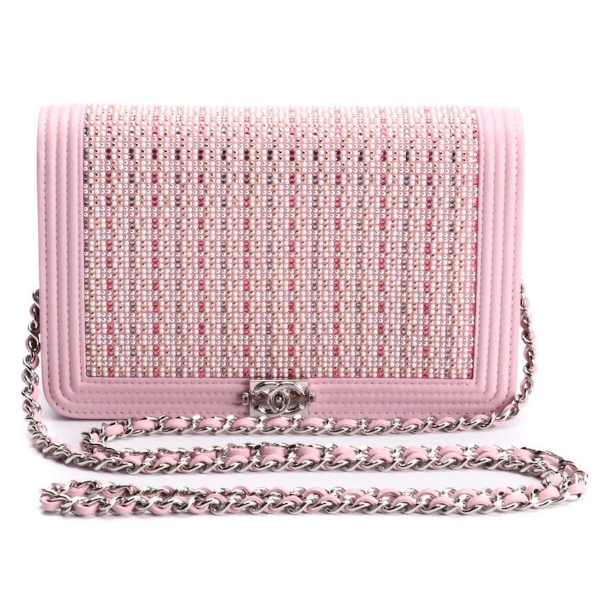 Chanel Strass Embellished Boy Wallet on Chain in Pink Lambskin Leather