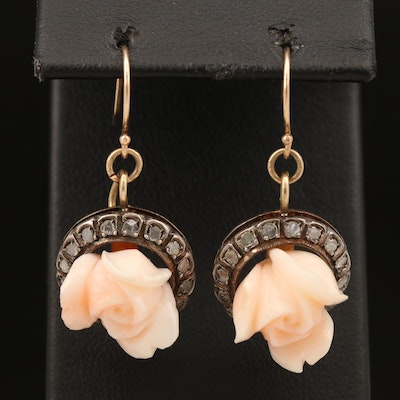 18K Carved Coral Rose Blossom Earrings with Diamond with Sterling Accents