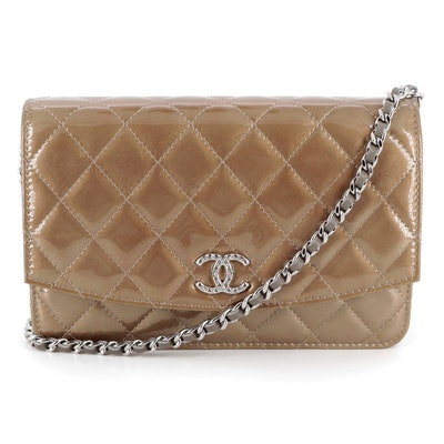 Chanel Quilted Metallic Patent Leather Crossbody WOC