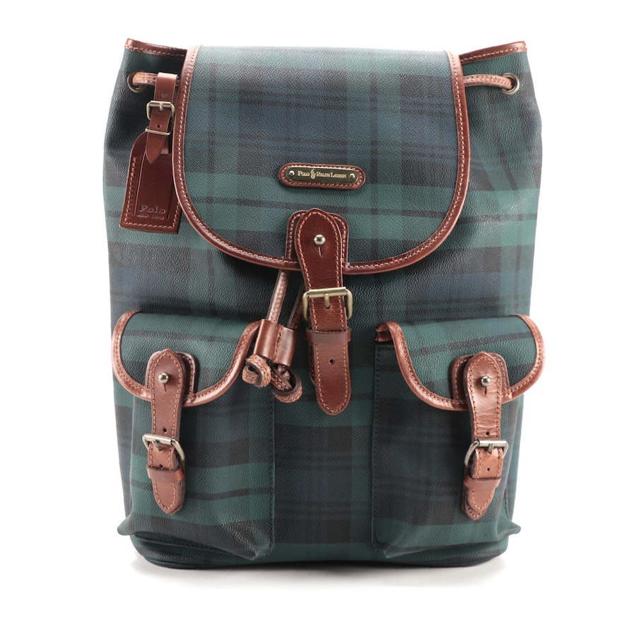 Polo Ralph Lauren Backpack in Black Watch Plaid Coated Canvas with Leather Trim