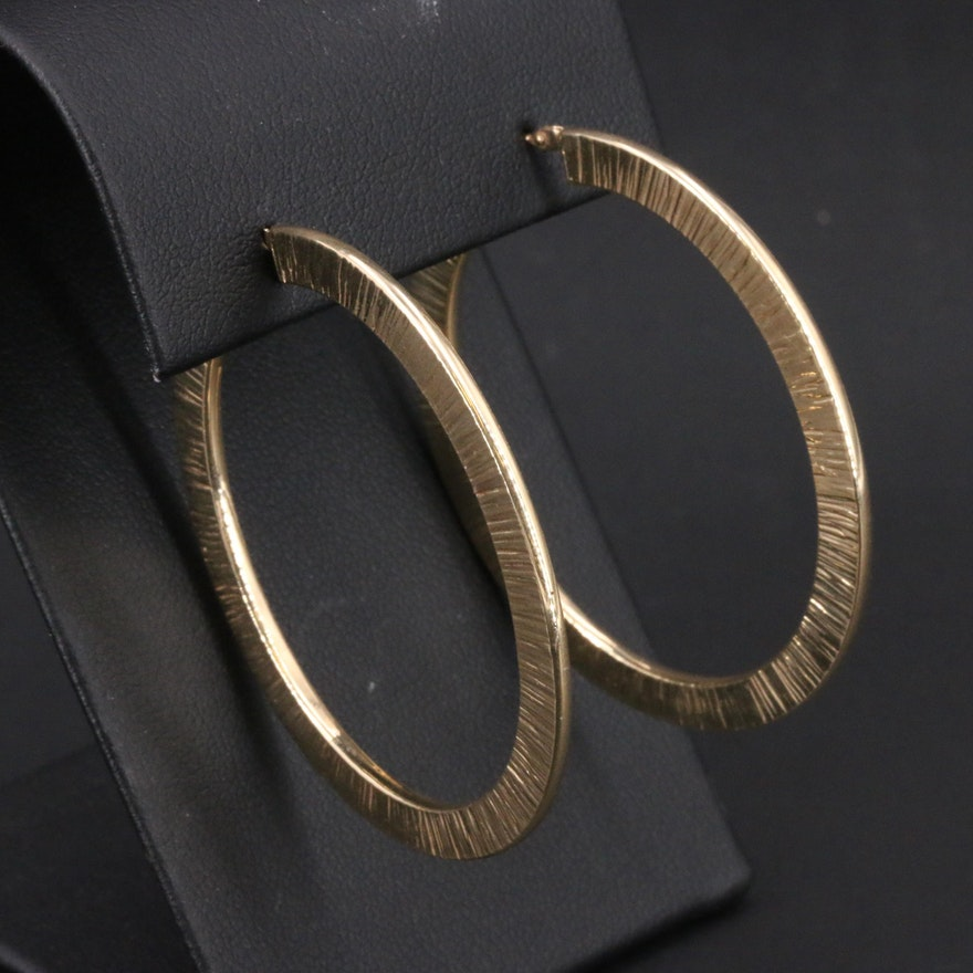Italian 14K Textured Hoop Earrings