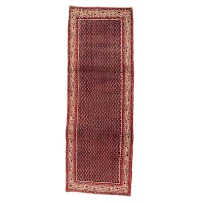 3'8 x 10'7 Hand-Knotted Persian Mir Sarouk Long Rug, 1970s