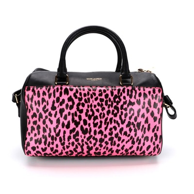 Saint Laurent Classic Baby Duffle Bag in Pink Leopard Print and Black Leather