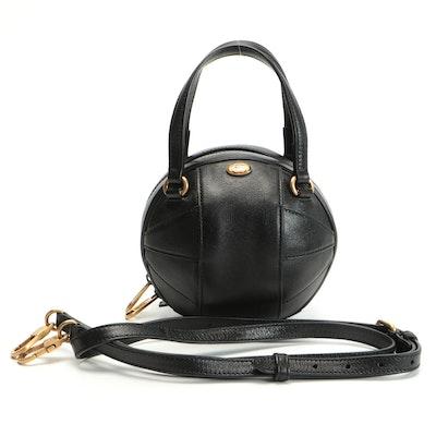 Gucci Tifosa Basketball Shaped Shoulder Bag in Black Calfskin Leather