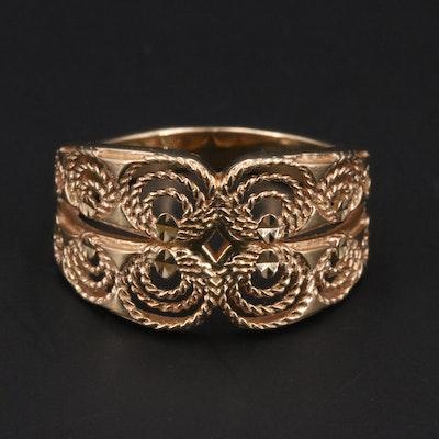 14K Tapered Filigree Ring
