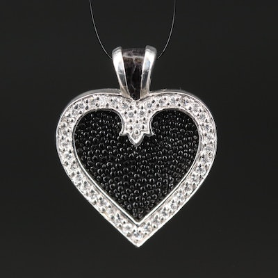 Sterling Silver Faux Stingray, Leather and Cubic Zirconia Heart Pendant