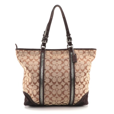 Coach Tote Bag in Signature Canvas with Beaded Trims