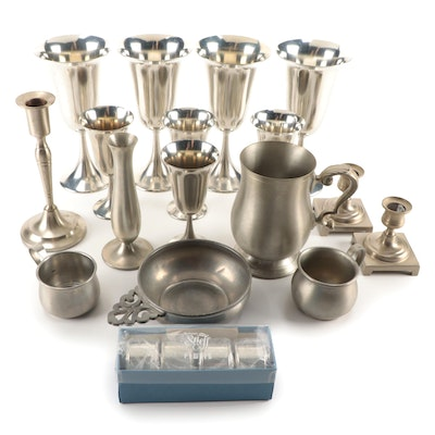 Towle, Daalderop, and More Pewter Stemware, Tableware, and Décor