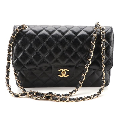 Chanel Classic Jumbo Double Flap Bag in Black Quilted Caviar Leather