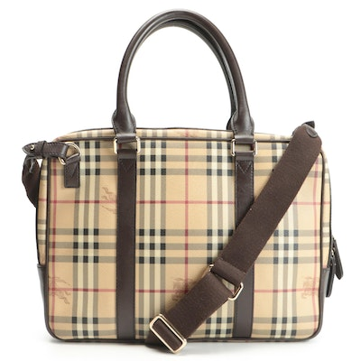 """Burberry Briefcase in """"Haymarket Check"""" Canvas and Brown Leather Trim"""