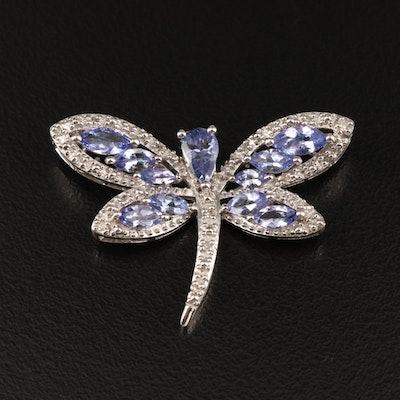 Sterling Silver Tanzanite and Diamond Dragonfly Pendant