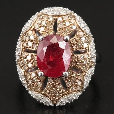 Sterling Silver Corundum and Diamond Oval Ring