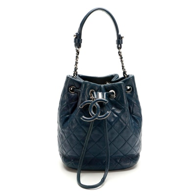 Chanel Mini Drawstring Bucket Bag in Quilted Blue Calfskin Leather