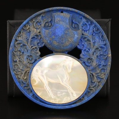 Loose Lapis Lazuli with Carved Mother Of Pearl Horse