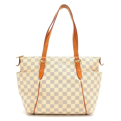 Louis Vuitton Totally Tote PM in Damier Azur Canvas and Vachetta Leather