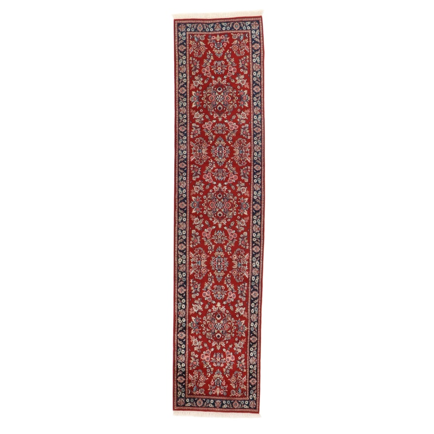 2'6 x 12' Hand-Knotted Indo-Persian Sarouk Carpet Runner, 2010s