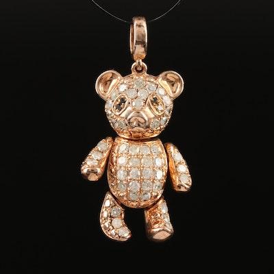 Sterling Silver Diamond Articulated Teddy Bear Pendant