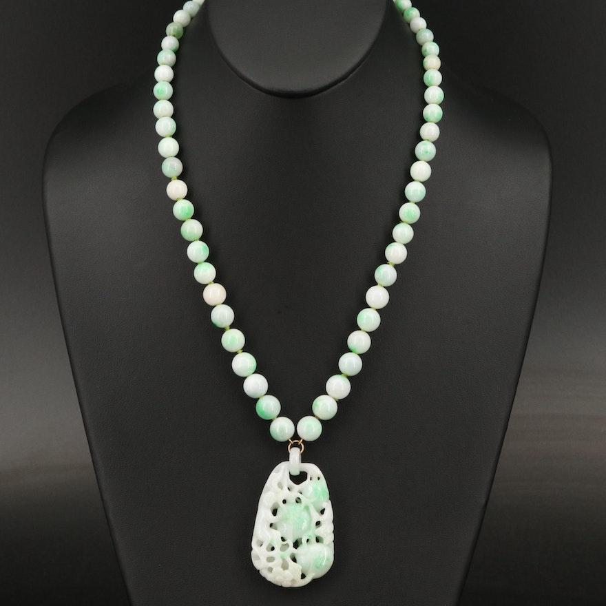 14K Jadeite Openwork Pendant Necklace