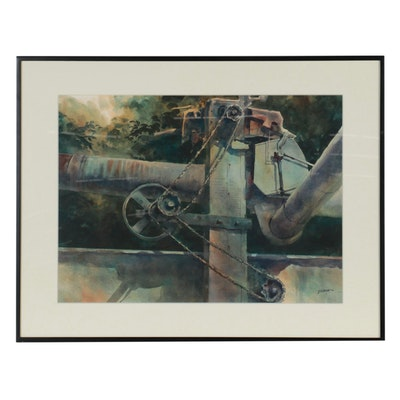 """William Borden Watercolor Painting """"Control Tower,"""" 1986"""