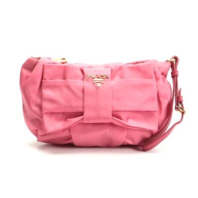 Prada Pink Nylon Bow Wristlet Clutch Bag