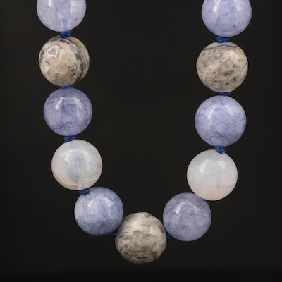 Jasper, Chalcedony and Quartz Necklace with Sterling Clasp