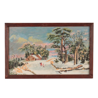 Snowy Winter Landscape Oil Painting, Mid-Late 20th Century