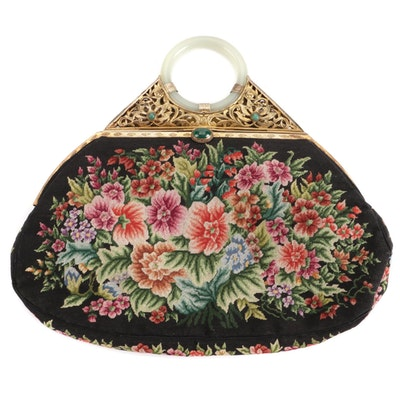 Petit Point Ormolu Framed Evening Bag with Nephrite Bangle Handle