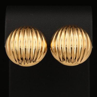 14K Fluted Earrings
