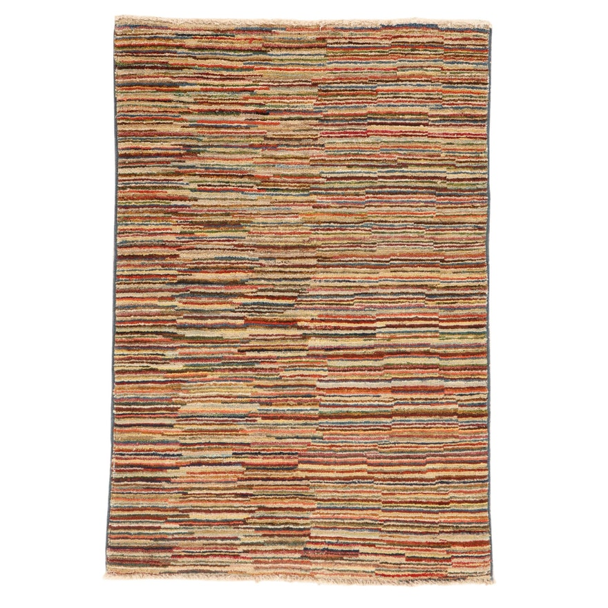 2'9 x 4'1 Hand-Knotted Pakistani Persian Gabbeh Rug, 2010s