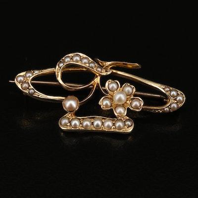 Art Nouveau 15K Pearl Brooch
