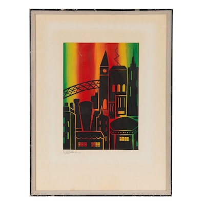 """Sister Mary Thérèse Pike Serigraph """"Universal City,"""" 1969"""
