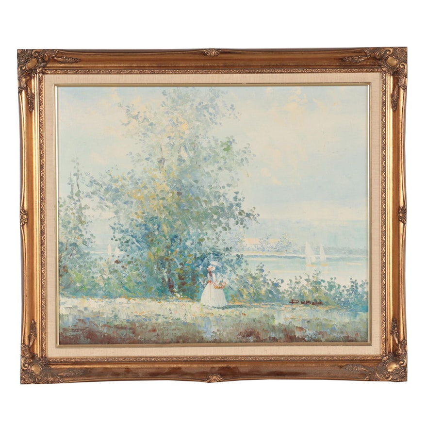 Impressionist Style Oil Painting of Young Woman by the Water, Late 20th Century