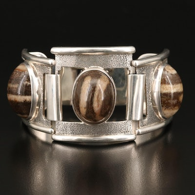 Sterling Silver Agate Reticulated Panel Bracelet
