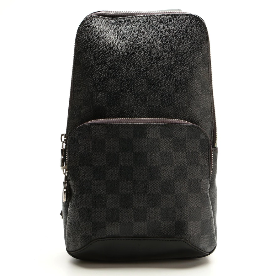 Louis Vuitton Avenue Sling Bag in Damier Graphite Canvas and Black Leather