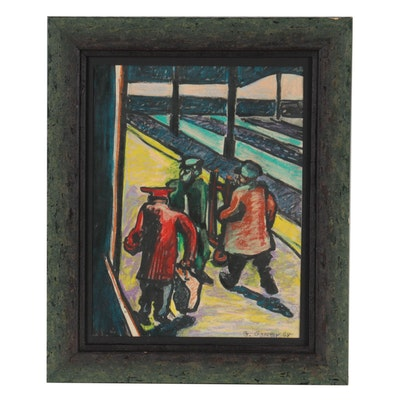 Gregory Gorby Mixed Media Drawing of Figures Walking, 1968