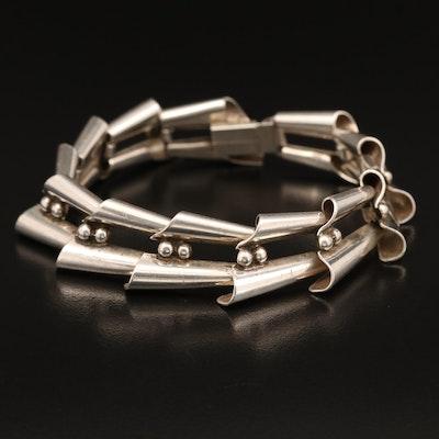 Sterling Fluted Link Bracelet
