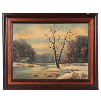 """Lois Brown Sinnett Landscape Oil Painting """"To Stand Alone,"""" Late 20th Century"""