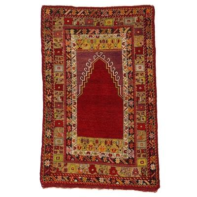 3'9 x 5'10 Hand-Knotted Turkish Village Prayer Rug, 1920s