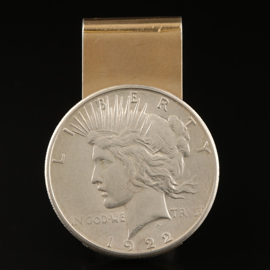 Sterling and 14K Money Clip with 1922-S Peace Silver Dollar Coin