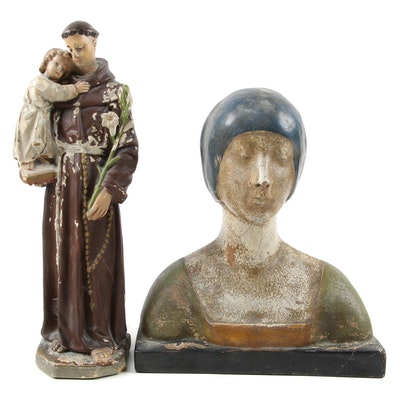 Chalk Religious Figures, Monk Holding a Child and Saint Mother Mary Bust