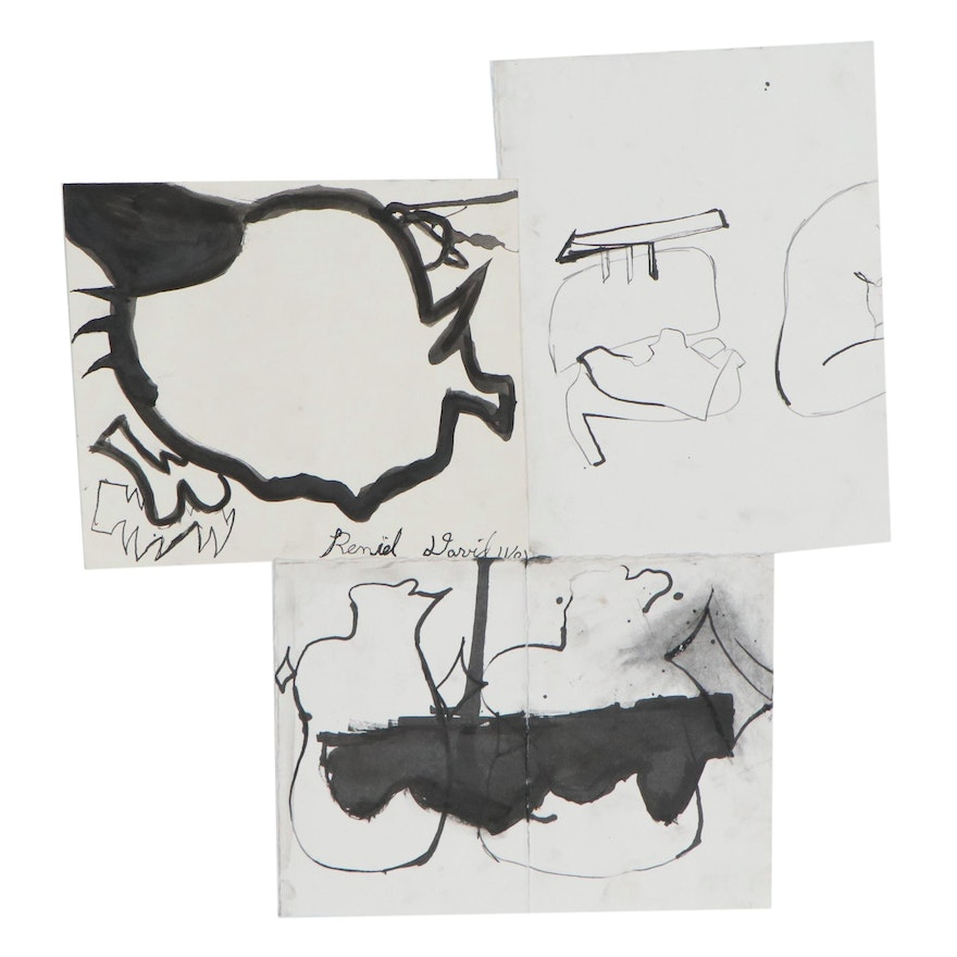 David J. Armacost Abstract Ink Wash Drawings, 21st Century