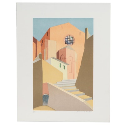 "Clarence Holbrook Carter Modernist Lithograph ""Sienna,"" 1979"