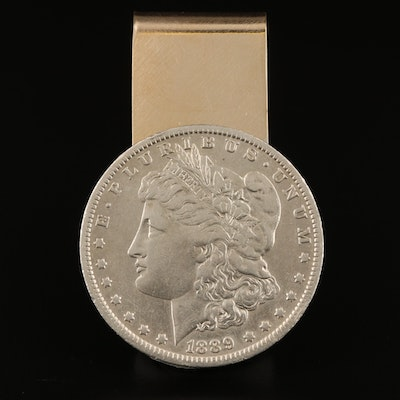 Colibri Sterling and 14K Money Clip with 1889-O Morgan Silver Dollar