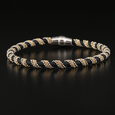 Italian Sterling and Rubber Cord Bangle