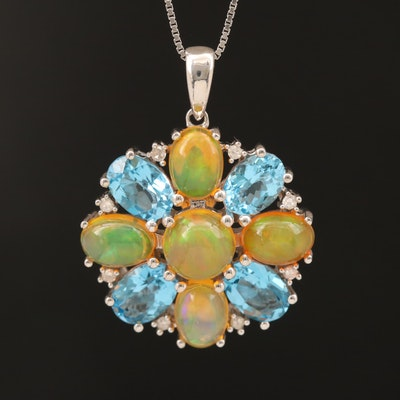 Sterling Opal, Topaz and Diamond Pendant Necklace