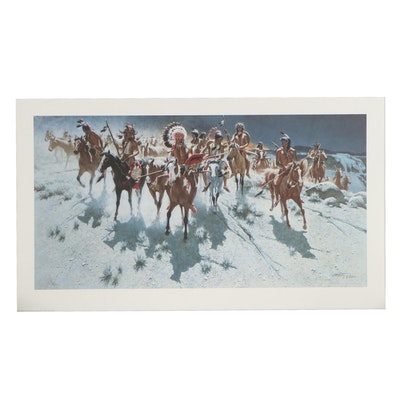"""Frank C. McCarthy Offset Lithograph """"Breaking The Moonlit Silence,"""" Circa 1992"""