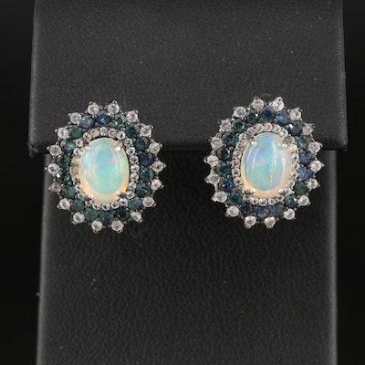 Sterling Opal and Sapphire Oval Earrings