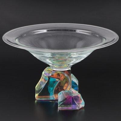 Steven Maslach Handblown Dichroic Art Glass Centerpiece Bowl