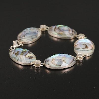 Sterling Abalone Quartz Doublet Bracelet with Cubic Zirconia Accents