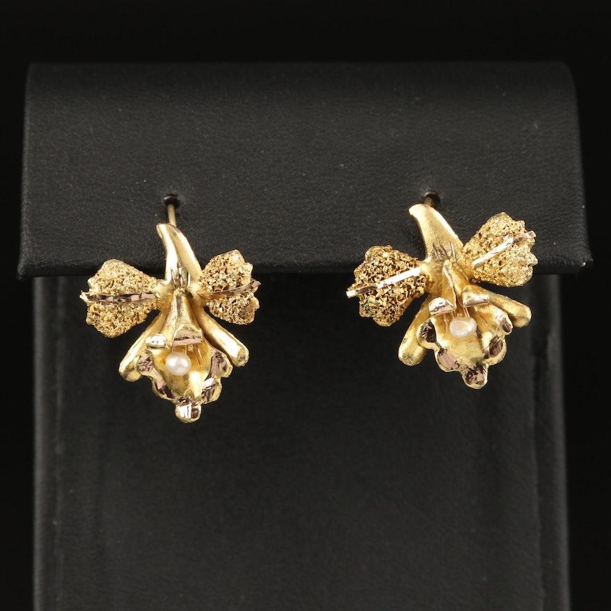 Vintage 14K Pearl Orchid Earrings